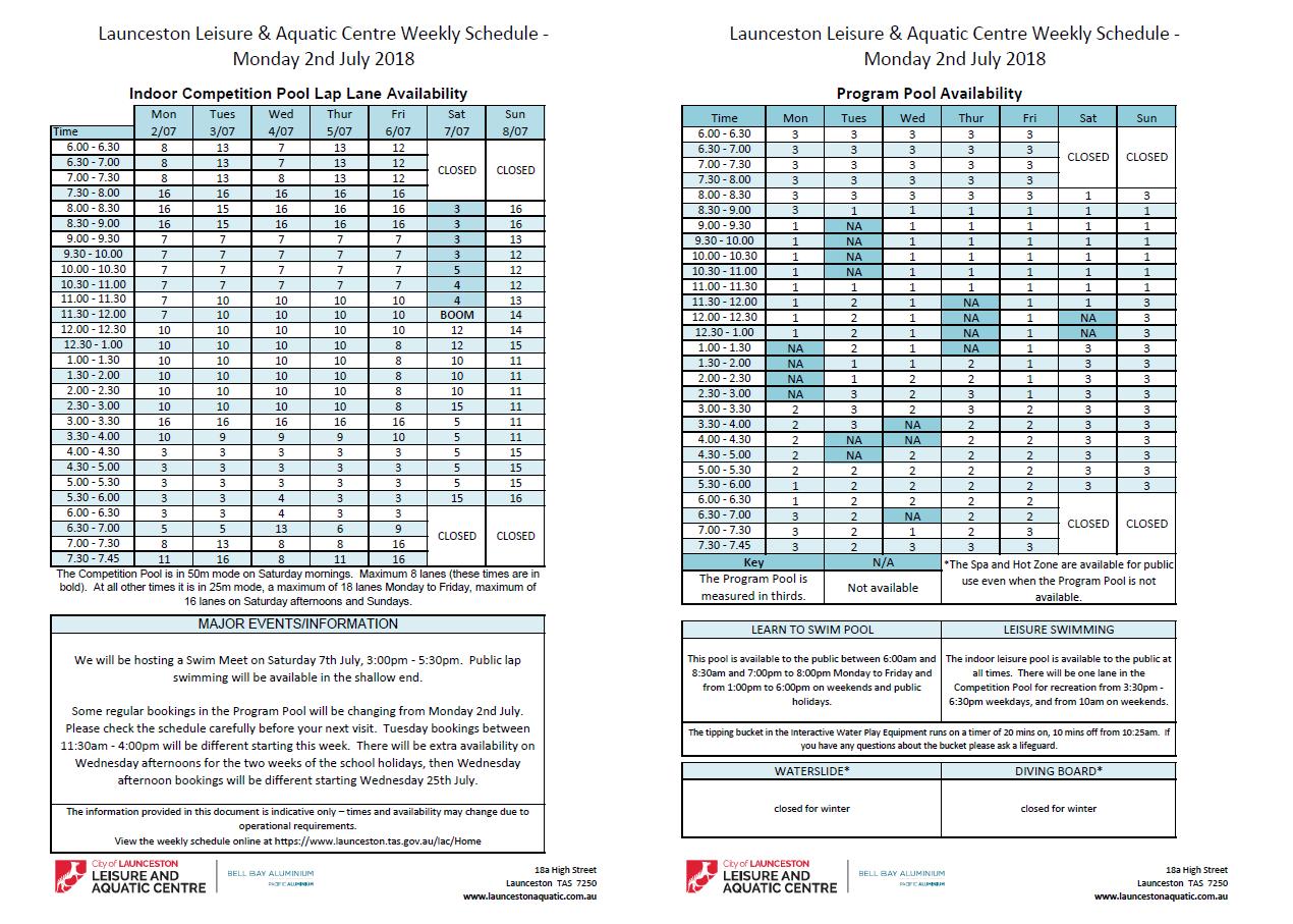 lap lane timetable launceston leisure aquatic centre