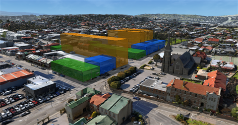 A digital representation of proposed building envelopes in Precinct A. The yellow box represents a 30m-high building envelope, blue 15m and green 12m. Overview looking south-west along York Street